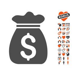 money bag icon with valentine bonus vector image