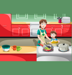 Mother daughter cooking vector