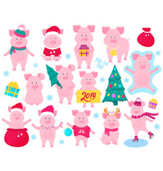 new year s set of cute pigs funny characters vector image