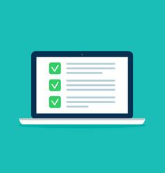 online survey in laptop checklist exam vector image