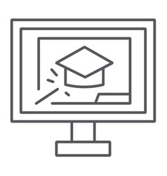 online training thin line icon education and vector image