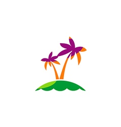 Palm tree tropic beach travel logo vector