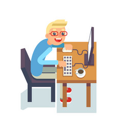 pc monitor programmer table chair guy isolated vector image