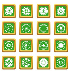 Photo diaphragm icons set green vector