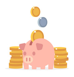 piggy bank and coins flat saving money vector image
