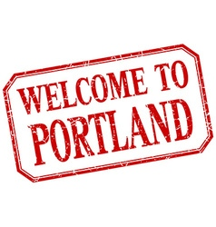 Portland - welcome red vintage isolated label vector
