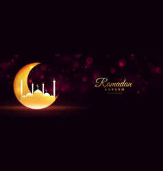 Ramadan kareem moon and mosque shiny golden vector