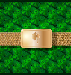 realistic leather belt with gold plate and clover vector image