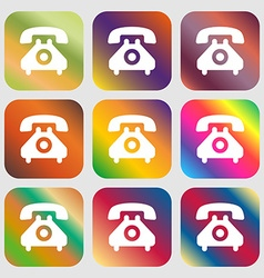 retro telephone handset icon Nine buttons with vector image
