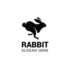 Running rabbit logo template isolated on white vector