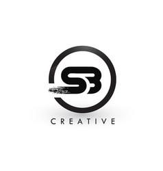 sb brush letter logo design creative brushed vector image