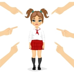 Schoolgirl being accused with fingers vector