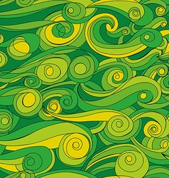 Seamless abstract pattern with green waves vector image