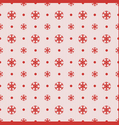 seamless christmas pattern with red snowflakes vector image