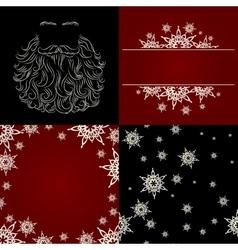 set of cristmas background snowflake santa beard vector image