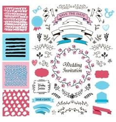 set of vintage hand drawn wedding design vector image