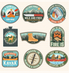 Set summer camp badges patches vector
