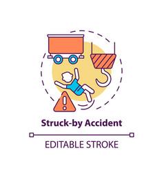 Struck accident concept icon vector