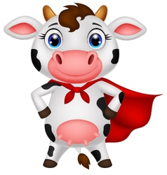 Superhero cow cartoon posing vector