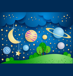 Surreal landscape with hanging moon and planets vector