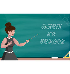 teacher on the background of a school board vector image