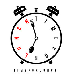 time for lunch breakfast alarm at 7 am vector image