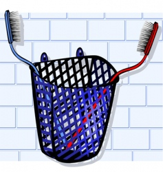 toothbrush in basket vector image