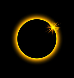total eclipse solar sun planet glows in ring vector image