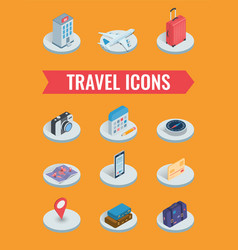 Travel icons in isometric style travel and vector