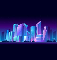 urban building skyline panoramic night banner vector image