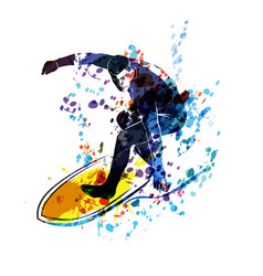 Watercolor silhouette surfer vector