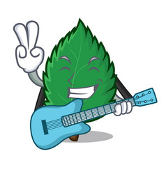 with guitar mint leaves mascot cartoon vector image