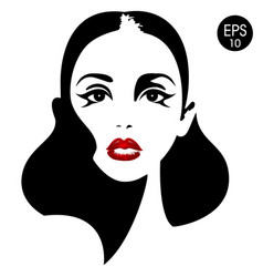 woman face with red lips eyes vector image