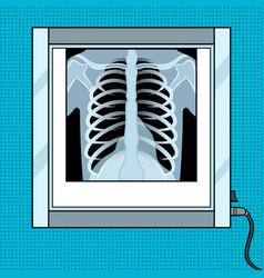 Xray chest in negatoscope pop art vector