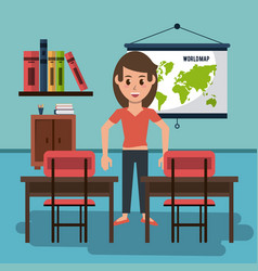 Young woman in classroom vector