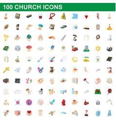 100 church icons set cartoon style vector image vector image