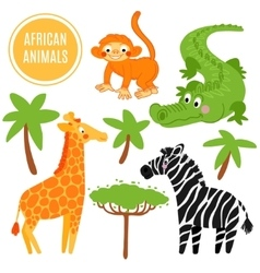 African animals set isolated on white background vector