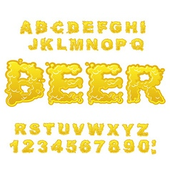 Beer ABC Alcoholic alphabet drink letters Yellow vector image vector image