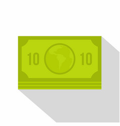 green money banknote icon flat style vector image vector image