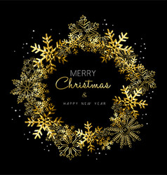 Merry Christmas and New Year gold snowflake wreath vector image