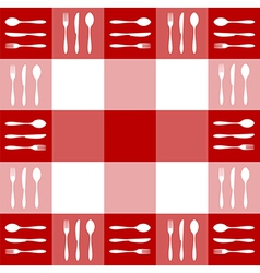 Red tablecloth texture with cutlery pattern vector image