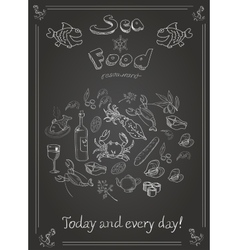 Set of hand drawn seafood on blackboard vector image vector image