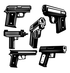 set of handguns isolated on white background vector image vector image