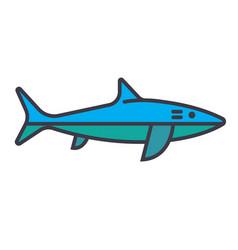shark flat line concept vector image vector image