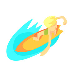 surfer on surf board from above part of teenagers vector image