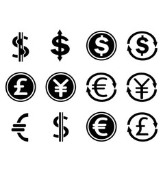 black currency symbols icons set vector image vector image