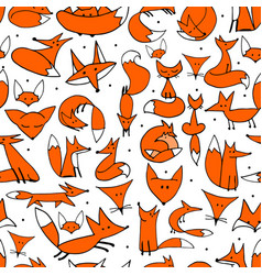 cute foxes seamless pattern for your design vector image
