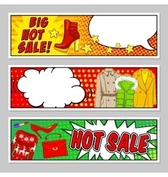 Fashion Comic Style Banners Set vector image vector image