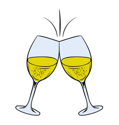 glasses of white wine icon cartoon vector image vector image