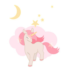cute unicorn little pony with pink hair lovely vector image
